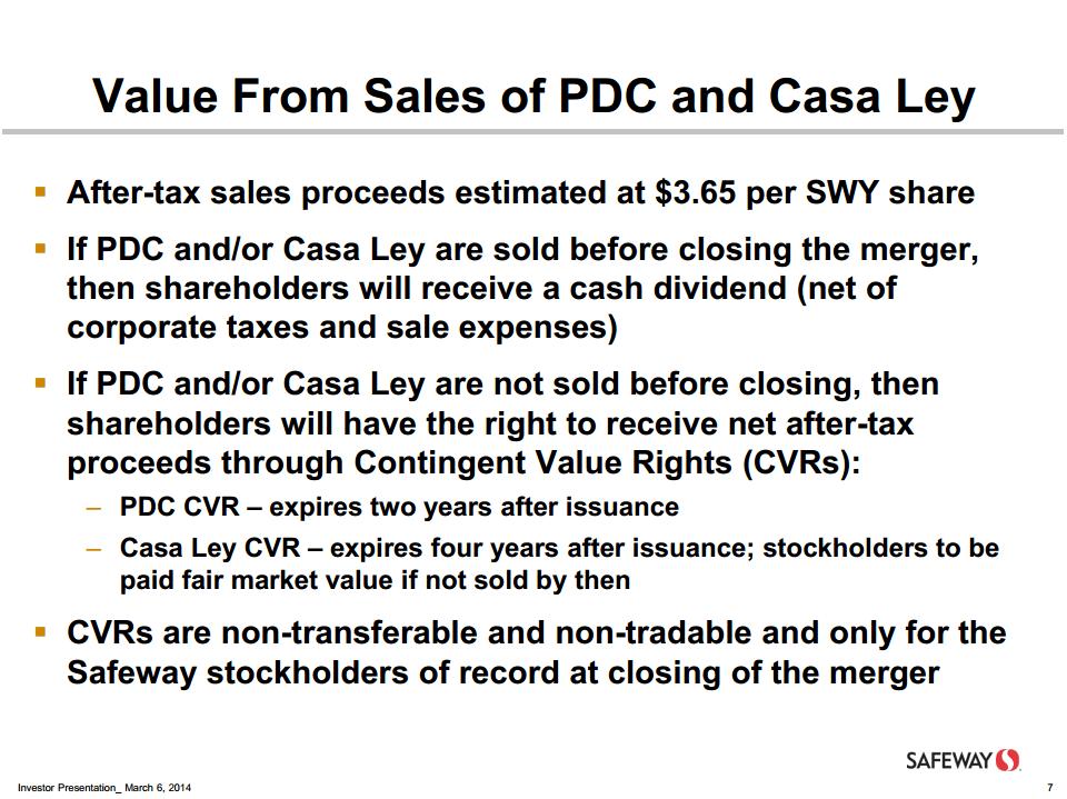 Safeway merger presentation on CVRs