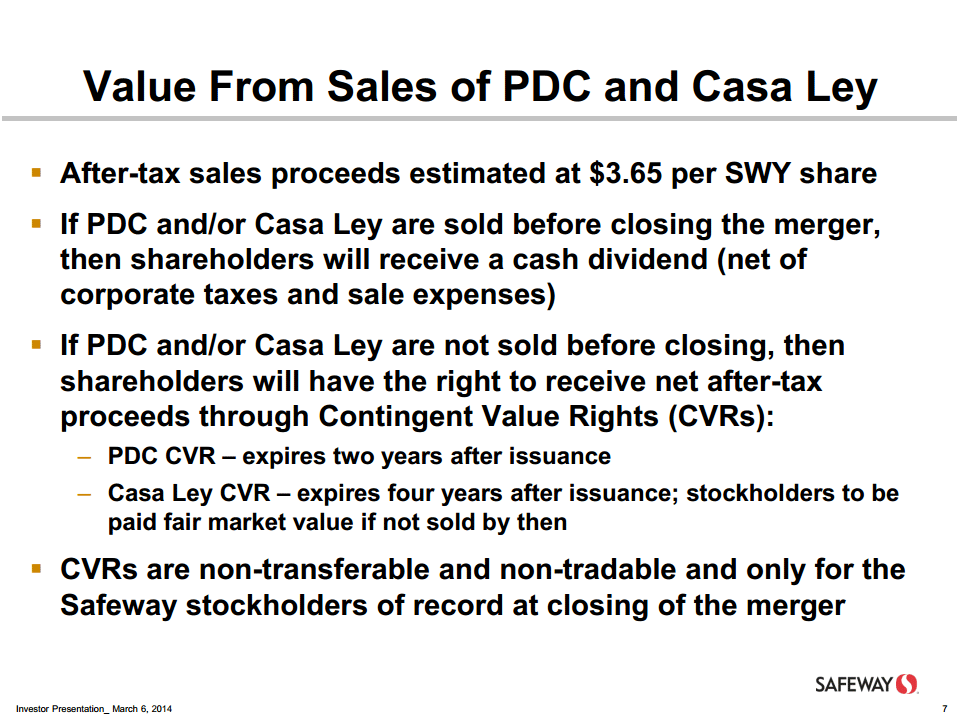 Safeway merger presentation on CVRs