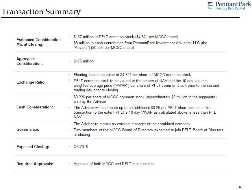 MCGC/PFLT transaction summary