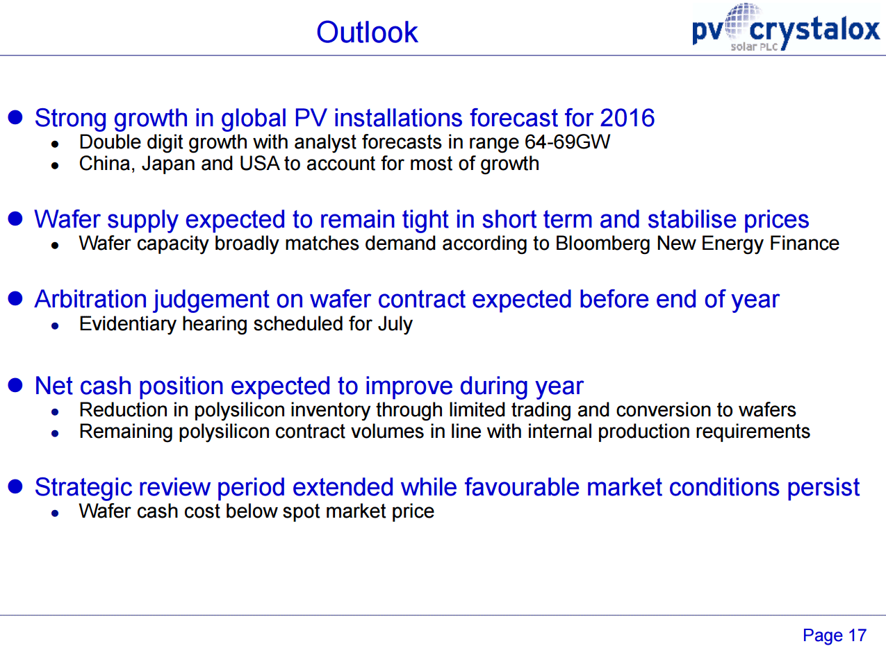 PV Crystalox outlook 2015